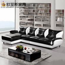 turkish sofa furniture black and white modern l shaped corner shiny leather sectional sofa set designs for drawing room 621(China)