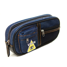 Student Stationery Large Capacity School Pencil Bag Multi-layer Denim Canvas Zipper Pen Case Pouch for Boys Girls School Supply(China)
