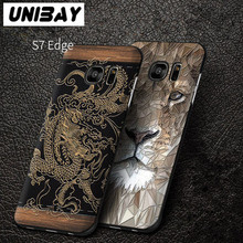 Unibay For Samsung Galaxy S7 edge G935 Hard Case Cover Most Poplular China Lion Dragon Phone Bag case For Galaxy S7 edge 5.5""