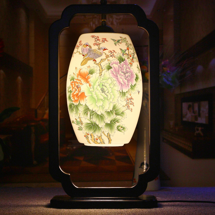 Chinese Style Classical E27 AC 85-265V Bedroom Wooden Flowers Pattern Ceramic Lampshade Table Lamp<br><br>Aliexpress