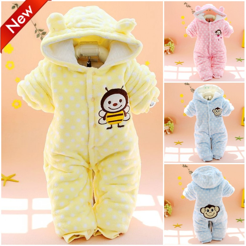 2015 winter newborn baby romper with hood thickening warm coral fleece romper for baby boy girl Cute outfit 0-9 months <br><br>Aliexpress
