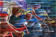 Free shipping,vector,bike,race,speed,color,cycling,HOME WALL Decor Prints Realistic Oil Painting Printed On CANVAS ART -2457
