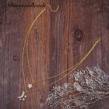 "DoreenBeads Double Layer Necklace Link Cable Chain gold color Star Moon Pendants Clear Rhinestone 41.5cm(16 3/8"")long, 1 Piece"