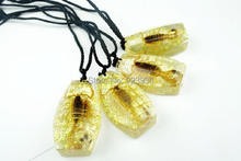 FREE SHIPPING wholesale 12 PCS Real Golden Scorpion Resin Cool Fashion Pendant Necklace Sparkly Venom Poisonous Gift