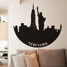 New York City Building Silhouette Statue Of Liberty Wall Decals Adhesive Transfer Vintage Decoration Bedroom Accessories