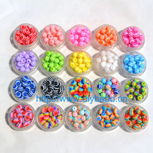 100 pcs DIY Bracelet Accessory Children Handcraft Department 18 Color 8MM Round Shape Resin Stripe Beads jewelry Findings(China)