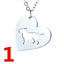 Hot Selling Pit Bull Pitbull Heart Dog Necklace Womens Love Pet Necklace Cute Animal Stainless Steel Necklace Festival Gift H52