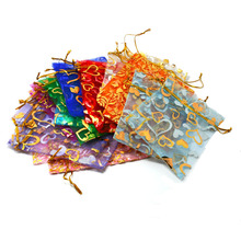 Mix Color Organza 100PCS 9x12cm Jewelry Gift Box Wedding Gift Candy Pouch Bag With Heart Painting(China)