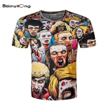 BIANYILONG 2017 New Summer 3D print T-Shirt Men Walking Dead Men T Shirts Walker Skull Zombies High Quality Crewneck Top Tees