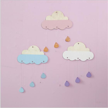 2017 Cloud Cartoon 3D wood Wall sticker for kids room DIY cute  Wall Decal Home Living Room wall Decoration  for Photography