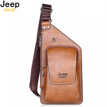JEEP BULUO Brand Bag Men Chest Pack Single Shoulder Strap Back Bag Split Leather Travel Men Crossbody Bags Vintage Chest Bag 633
