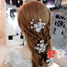 1pcs Rhinestone Flower Pearl Hair Pins Clip Head Hairpin Accessories For Wedding Bride(China)