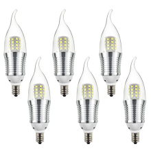 6pcs Candelabra Bulb, 9W Daylight White 6000K LED Candle Bulbs, E12 Candelabra Base, 800 Lumens LED Chandelier Lights, Flame Tip(China)