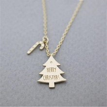 Merry Christmas Tree With Candy Canes Pendants Necklaces Women Kids Gifts Jewelry Stainless Steel Bijoux Femme Collier Choker(China)