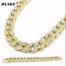 "Miami Cuban Link Chain Set Gold Color Fully Iced Out Rhinestone Hip Hop Bling 2016 Hot Sale 15mm 30"" Necklace & 8.5"" Bracelet(China)"
