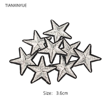 TIANXINYUE 10Pcs 3.6cm Gray Star Embroidered Iron On Badges Patches For Clothing Cartoon Motif Applique Sticker For Clothes(China)