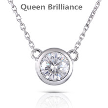 Queen Brilliance 0.5ctw Lab Grown Moissanite Diamond Pendant Necklace For Women Genuine 18K 750 White Gold Fine Jewelry Choker(China)