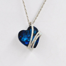 1PCS 50 cm Romantic Woman Ocean Heart Necklace Jewelry Blue Heart Crystal Pendant Necklace  Christmas Silver Plated Necklaces
