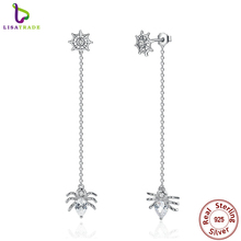 2017 New 925 Sterling Silver Ferris Wheel and Spider Push-back Long Drop Earrings For Women Party Fashion Jewelry SCE019
