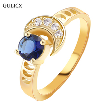 GULICX 2017 Fashion Moon Finger Band Gold-color Ring for Women Vintage Round blue Crystal Yellow CZ Wedding Jewelry R358