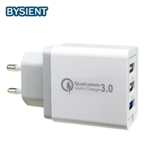 Bysient Certified Standard voltage QC port 5V/9V/12V 3 USB port 5V 2a 2.4a qc3.0 usb wall charger Us/Eu Plugs 30W Fast Single(China)