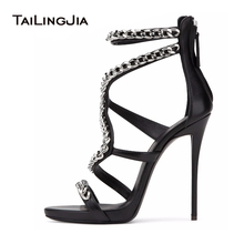 Women Sexy Red High Heel Sandals with Chain Black Strappy Extremely High Heels Ladies White Stiletto Summer Evening Dress Shoes(China)