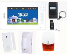 Advanced smart 7 inch touch screen home security 868MHZ GSM alarm system with lithium battery,multi-language Android & IOS APP(China)