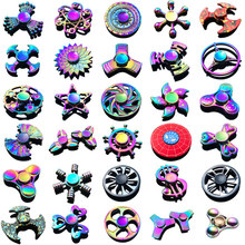 Buy Hot Rainbow Brass Tri Fidget Spinner Adult Office Stress Finger Hand Spinners Figet Spiner Metal Top Toy Beyblade Gyro Children for $7.22 in AliExpress store