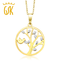 GemStoneKing 18K Yellow Gold Plated 925 Sterling Silver Tree Of Life White Diamond Pendant Round Tree Pattern Women's Necklace