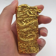 USB Arc Lighter Gravity Wave Pulse Usb Cigarette Lighter Gold Plating Carving Windproof Lighters Electronic Lighter Gift Box(China)