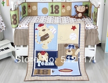2014 New Forest Animals 5pcs Baby Cot Crib Bedding Set 5 items Includes Quilt Bumper Sheet crib skirt Diaper Stacker(China)