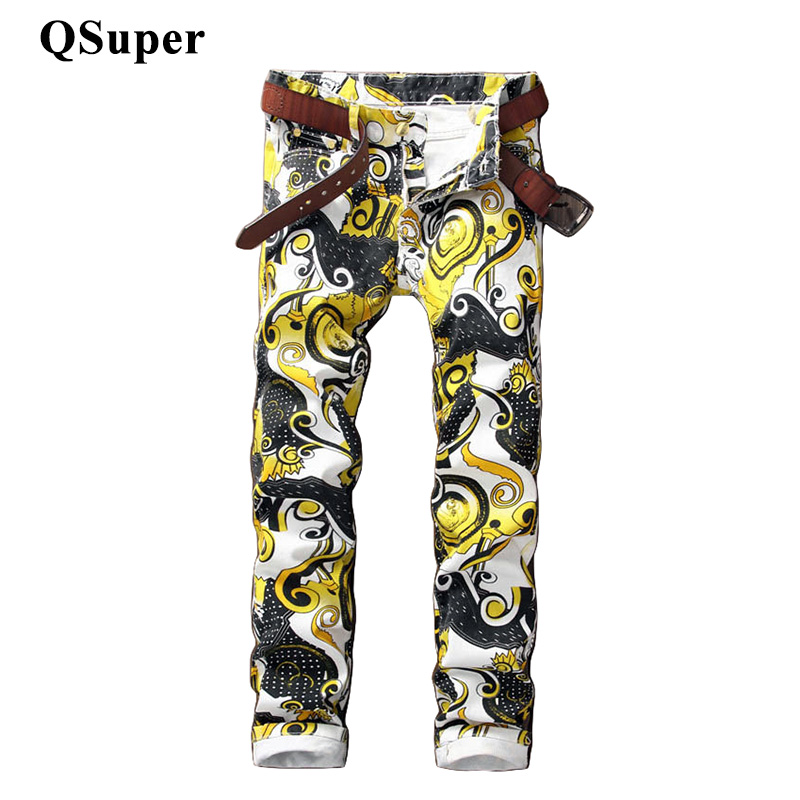 QSuper Luxury Brand Men Stylish Floral Print Cotton Jeans Mid Waist Men Straight Slim Fit Water Wash Coated Casual JeansОдежда и ак�е��уары<br><br><br>Aliexpress