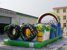 0.55 mm PVC Tarpaulin Outdoor Customized Large OEM Inflatable Obstacle Course