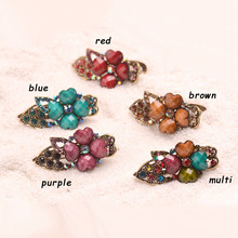 Antique Bronze Flower Small Hair Clip Retro Metal Hair Claw Women Costume Hair Accessories Jewelry