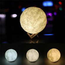 18cm USB Rechargeable 3 Light Colors Stepless 3D Magical Moon LED Night Light Moonlight Desk Lamp(China)