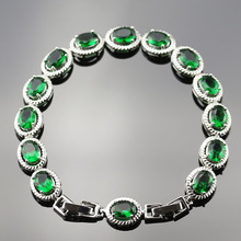 Green Created Emerald  Bracelets For Women Silver Color Link & Chain Cubic Zircon Crystal Trendy Wedding Jewelry Sl13-001-04