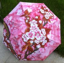 Plum Blossom Wintersweet Oil Painting Chinese Style Sun Rain Art Umbrella 3 Fold Anti Uv Fashion Abstract Free Shipping