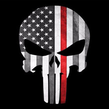 "YJZT 9.5CMX13CM PUNISHER Skull Firefighter ""Thin Red Line"" American Flag Car Sticker Decal C1-6005(China)"