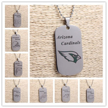 6Pcs/lot Mix Dog Tags Pendants Charms Necklace Football Arizona Ravens Panthers Bills Silver  Stainless Steel Jewlry