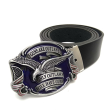 "Leather belts for men jeans with Proverbs ""if guns are outlawed only outlawed will have guns"" American Eagle Belt Buckle Metal"