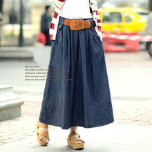 Free Belt Long Skirt Woman 2017 Spring And Summer Denim Skirts For Women Long Jean Skirt New Arrivals Blue Color Faldas Mujer