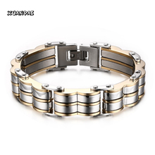 Mens Stainless Steel Bracelet Chain Link Wrist Band Cool Wristband Men Bike Jewelry