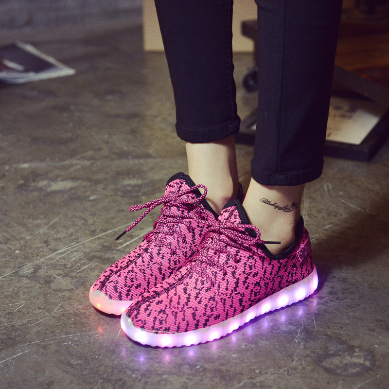 Pink Fashion Women Casual Shoes Light Up Mesh Shoes for Men Low Top Breathable Led Shoes for Adults Size 45 Plus Size X941 35<br><br>Aliexpress