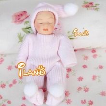 "2.76"" Porcelain doll model 1:12 dollhouse miniature Pink sweater Cute baby"