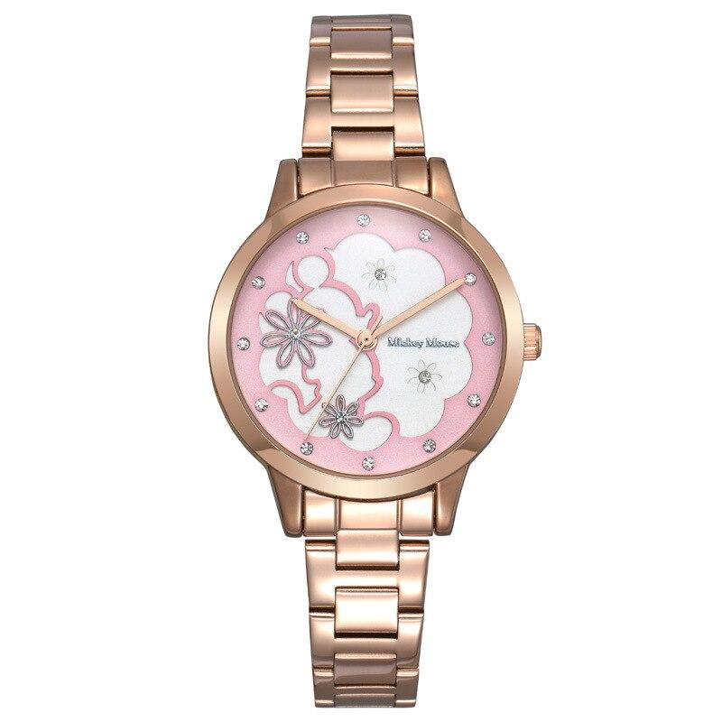 Disney brand rose gold stainless steel luxury diamond for women watches Mickey mouse quartz waterproof ladies clocks original<br>