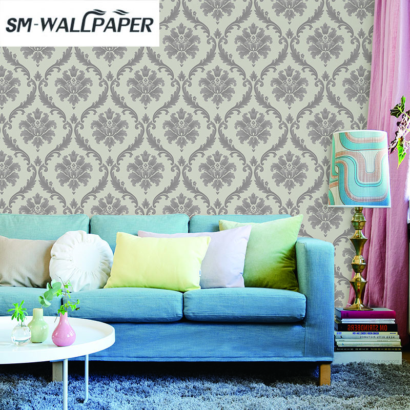 Wholesale Classic Wall Paper Wall Damask Wallpaper Golden Floral Wall Covering 3D Velvet Living Room Home Background Decor<br>