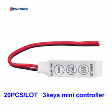 20pcs DC12V 24V Mini RGB Led Controller 3keys 6A 3 Way Channel to Control RGB Led Strip Light module SMD5050(China)