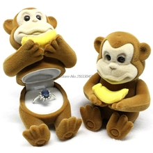 1Pc Cute Jewelry Storage Holder Monkey Ring Earring Pendant Oragnizer for Gift Box -W128(China)