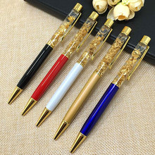 1pc 24k Gold Foil Gift Pens Metal Crystal Pen Ballpoint Pens With Gold Foil Many Colors Available Gold Foil Pens