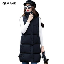 Q-IMAGE Hot Women Winter Long Vests 2017 Slim Down Cotton Vest Jacket Sleeveless Lady Thick Warm Waistcoat Vest Women's Clothing(China)